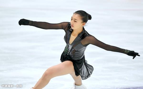 女子で優勝した坂本花織のフリー(31日、京都アクアリーナ)=代表撮影・共同