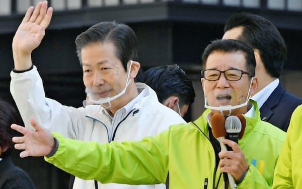 公明党の山口代表は日本維新の会の松井代表と一緒に都構想への賛成を訴えた(10月18日、大阪市)