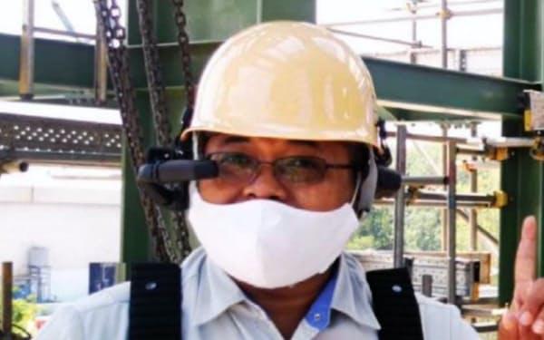 3月にタイ中部でスマートグラスを使い工事を遠隔指導した