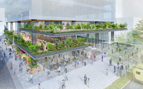 NTT仙台中央ビルは建て替え後に市民が通れるスペースを設ける(イメージ図)