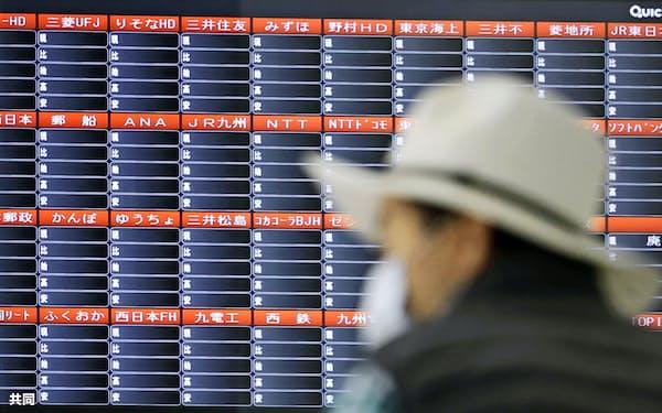 取引停止で表示が消えた株価ボード(10月1日)