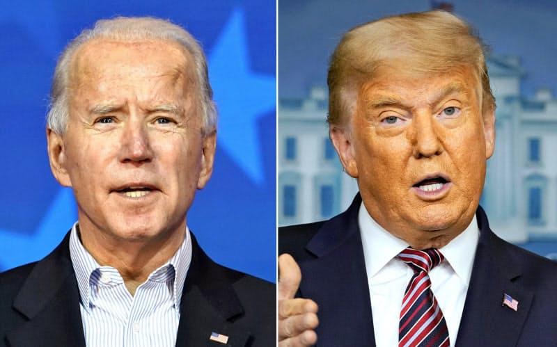 バイデン前副大統領の当選が確実になるなかで結果を覆すのは難しい情勢だが、トランプ大統領は認定後も法廷闘争を続けるとみられる=いずれもAP