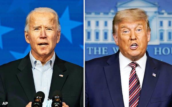 大統領選で優位に立つバイデン前副大統領(左)を、法廷闘争で阻止する構えのトランプ大統領(AP=共同)