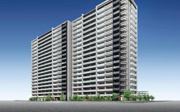 岡山駅西口近くに建設中の分譲マンション(完成予想図)