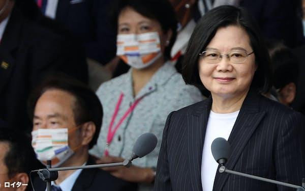 台湾の蔡英文総統は、バイデン氏に祝意を表した(10月、台北市)