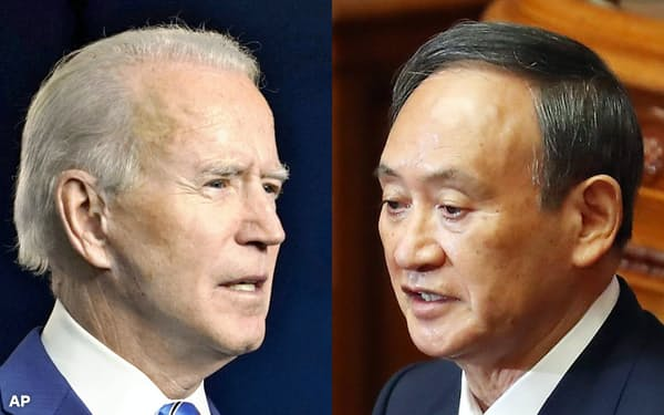 菅首相(写真右)はできるだけ早くバイデン氏(同左、AP)と会談し、同盟関係の強固さを内外に強調したい考えだ