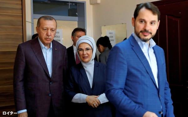エルドアン大統領(左)と辞任した娘婿のアルバイラク財務相(右)(2019年6月、イスタンブール)=ロイター