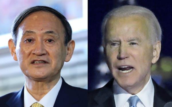 菅首相(左)とバイデン氏