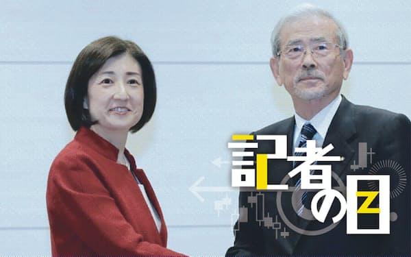 19年12月にヤマダ電機(現ヤマダHD)との資本提携の記者会見に臨んだ大塚家具の大塚久美子社長(左)