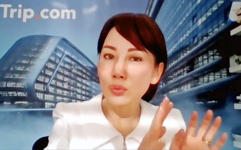 オンラインで講演するトリップドットコムの孫潔CEO(11日)