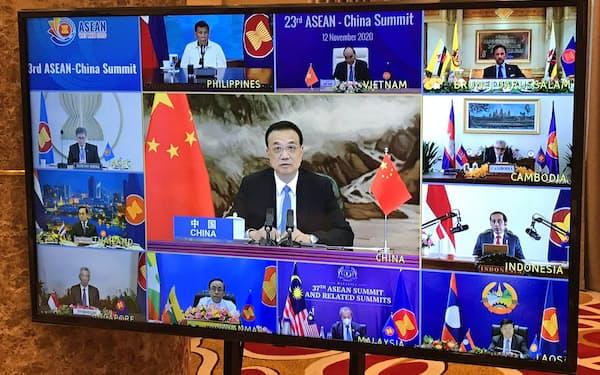 12日、中国とASEANのオンライン首脳会議には中国から李克強首相が出席した