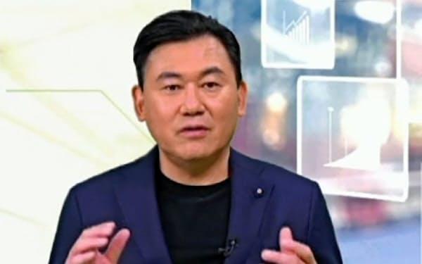 オンライン決算説明会に登壇した楽天の三木谷浩史社長(12日)