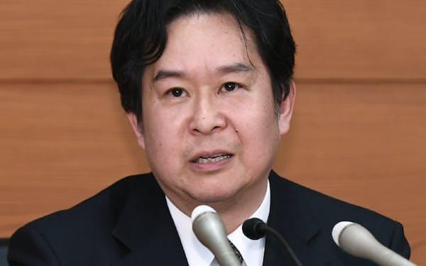 日銀の安達誠司審議委員(3月の日銀本店での就任記者会見)