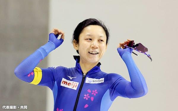 女子1500メートルで優勝した高木美帆(15日、明治北海道十勝オーバル=代表撮影・共同