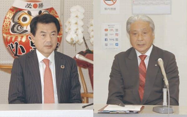 5選を決めた福田知事(右)と佐藤市長
