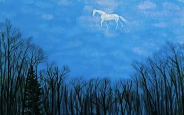 新華社が公式発信したコラムに登場した馬雲氏の運命を暗示する見出し(左上)と東山魁夷氏の名画「綿雲」(同左下)