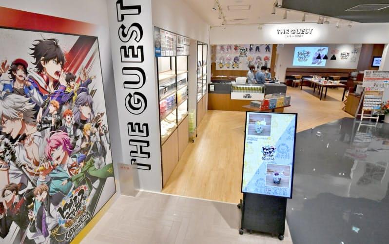 心斎橋パルコ内にあるアニメとのコラボカフェ(17日、大阪市中央区)