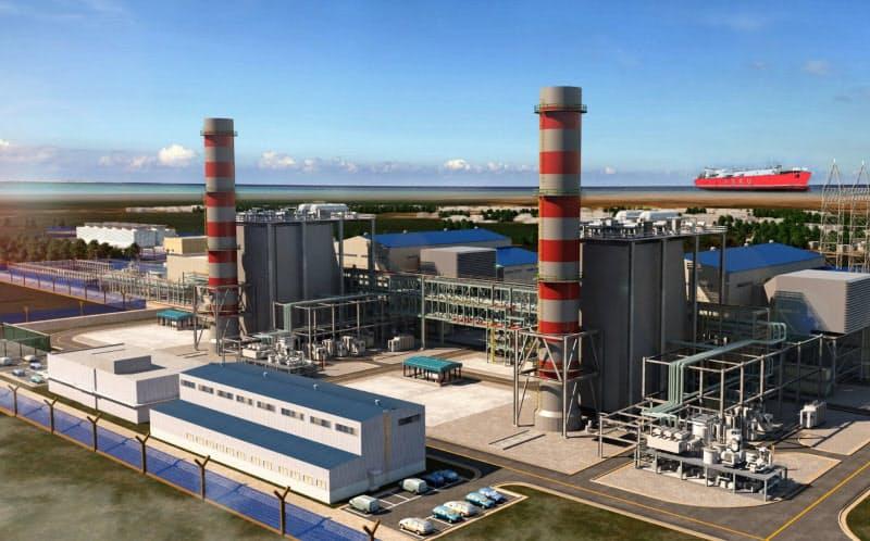 丸紅や双日がインドネシアで開発中のLNG発電所(完成予想図)