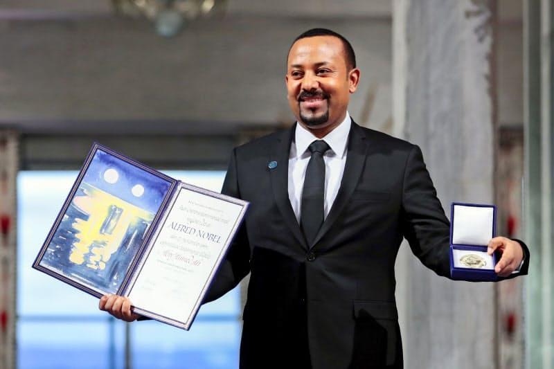 2019年にノーベル平和賞を受賞したエチオピアのアビー首相(19年12月10日、オスロ)=AP
