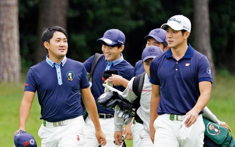 日本オープン練習ラウンドで同組だった金谷拓実(左)と中島啓太=代表撮影