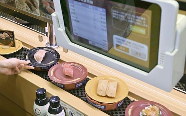 カメラでレーン上のすし皿を認識し会計を自動化している(奈良市のスシロー奈良三条大路店)