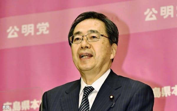 次期衆院選広島3区で公明党の公認候補に決まった斉藤副代表(19日、広島市)