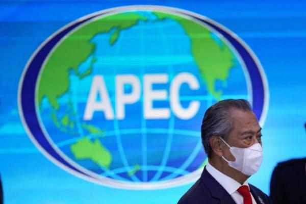 APEC首脳会議で議長を務めるマレーシアのムヒディン首相=AP