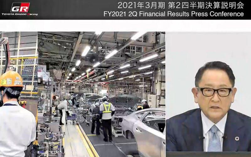 決算についてオンラインで会見するトヨタ自動車の豊田章男社長=6日午後
