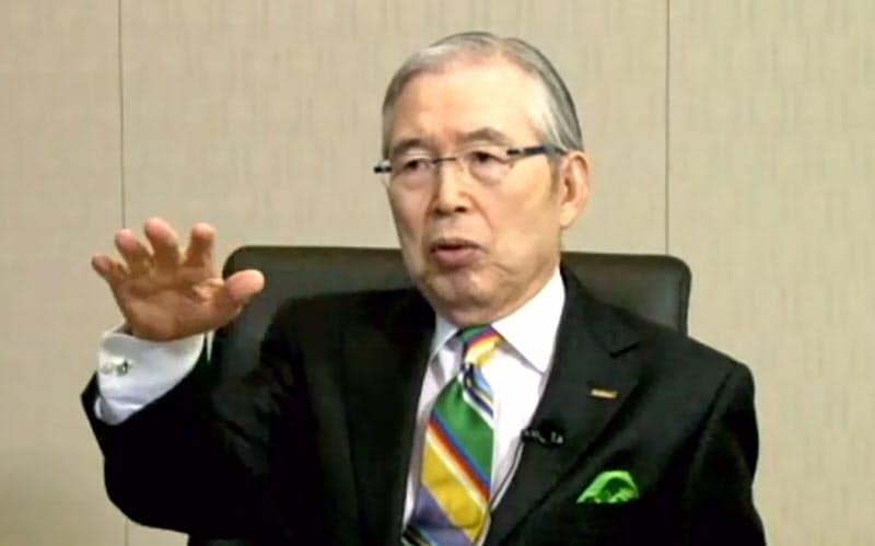 オンラインで講演する日本電産の永守重信会長兼CEO(10日)