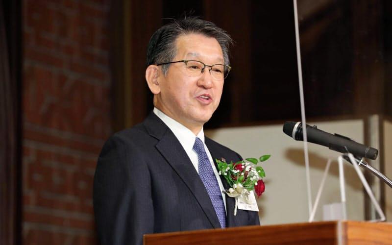 第2回日経SDGs経営大賞を受賞したリコーの山下良則社長(24日、東京都千代田区)