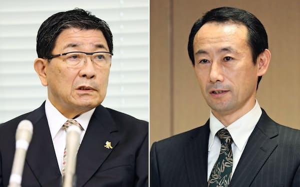 古田肇氏(写真左)と江崎禎英氏