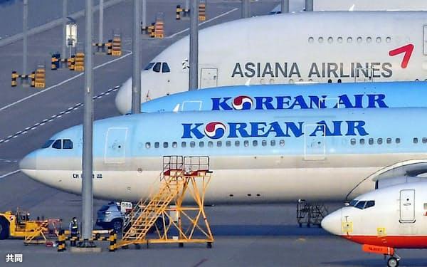 韓国1位2位の航空会社の統合には批判もあがっている=共同