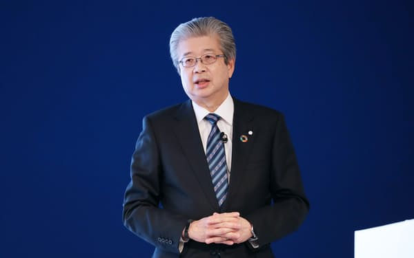 講演する第一三共の真鍋淳社長兼CEO(10日午前)