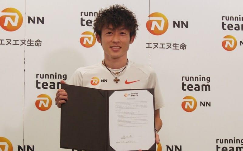 NNランニングチームへの加入を発表したマラソンランナーの福田穣