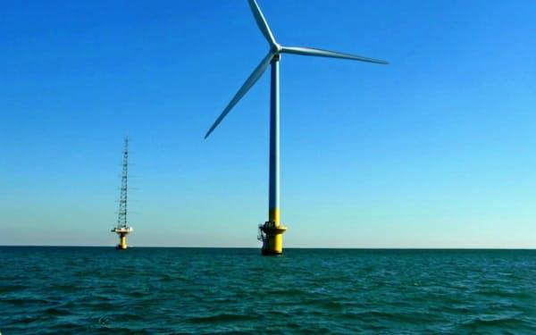 風力発電所の建設が相次ぐ中、ドローン点検の需要が高まっている(東電が運営する洋上風力)
