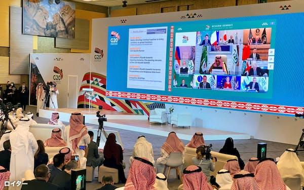 今年のG20首脳会議はオンラインで開かれた(11月、サウジアラビアのリヤド)=ロイター