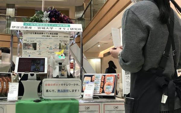仙台三越の歳暮売り場でオリヒメを活用した接客の実証実験が始まった(2日、仙台市)