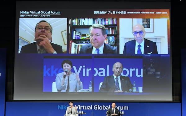 「国際金融ハブと日本の役割」で討論するパネリストら(2日、東京都港区)