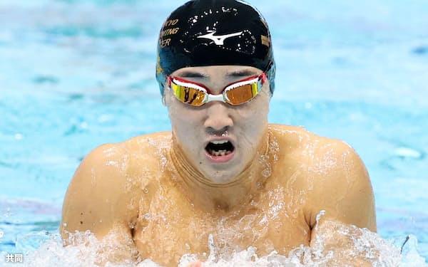 男子平泳ぎで成長著しい19歳の佐藤翔馬=共同