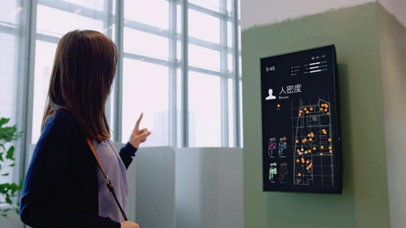 モニターで人の分布を示し密回避に役立てるシステムなどを試す