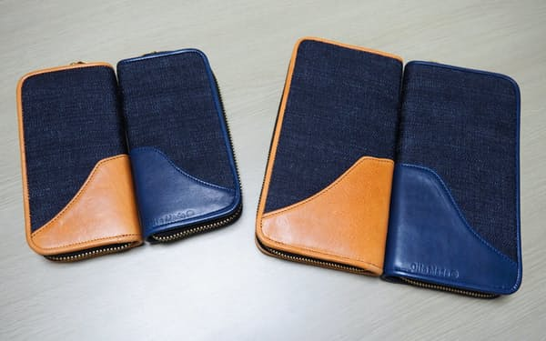 「キリカブ デニム×レザー」シリーズの財布(右側の2つ)とペンケース(左側の2つ)は大分県玖珠町のシンボル・伐株山(きりかぶさん)を題材にした