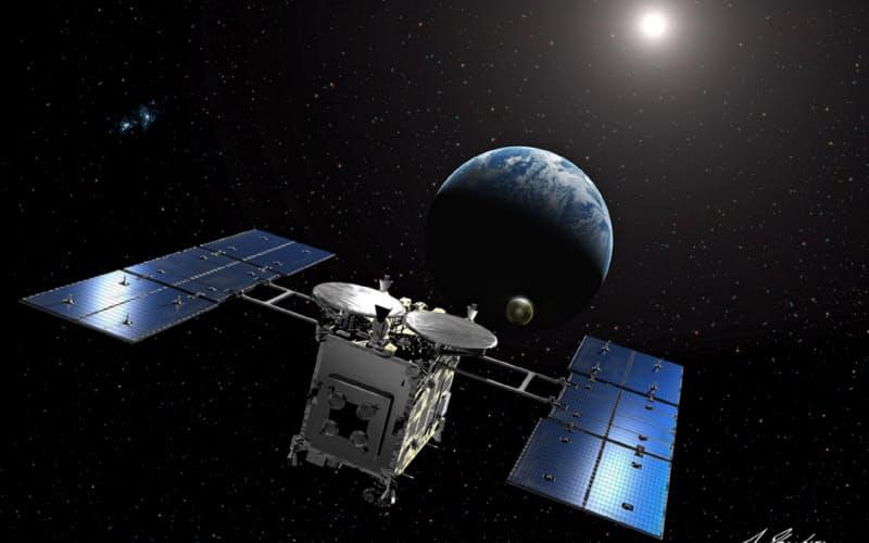 小惑星をかけらが入ったカプセルを地球に投下するはやぶさ2の想像図=JAXA、池下章裕氏提供