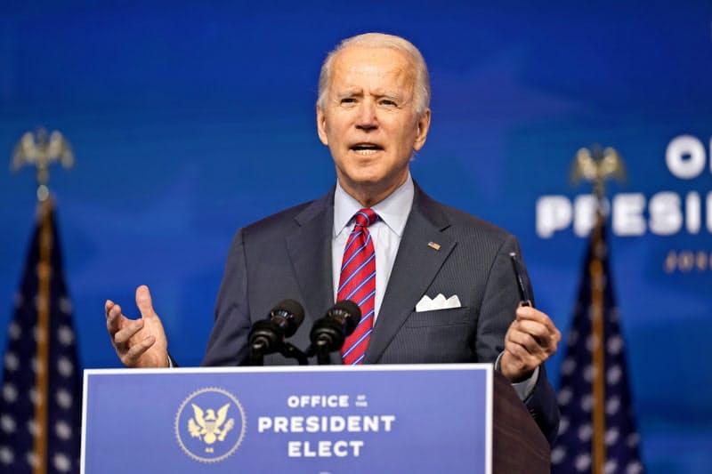米大統領選の勝利を確実にしたバイデン前副大統領は4日、早期の財政出動を支持する考えを示した(デラウェア州ウィルミントン)=AP
