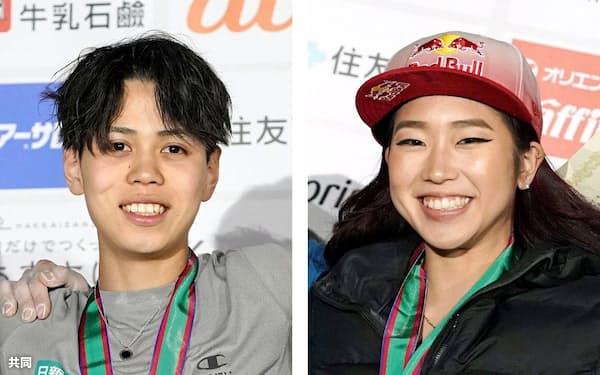 スポーツクライミングの東京五輪代表に決まった原田海(左)と野中生萌=共同
