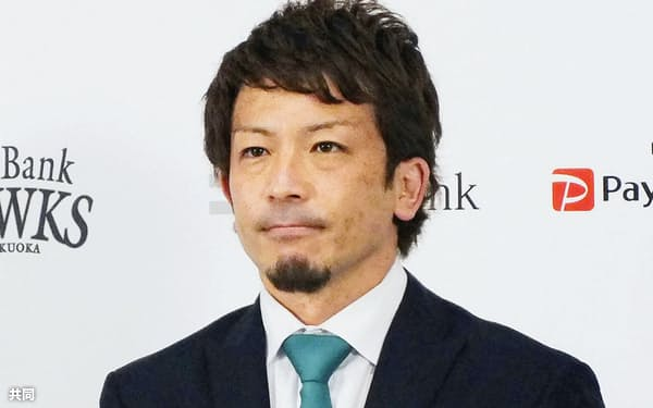 契約更改交渉を終え、記者会見するソフトバンク・松田宣(21日、ペイペイドーム)=共同