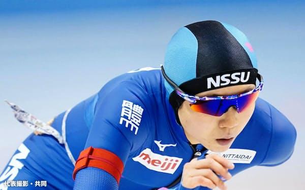 女子5000メートル 優勝した高木美帆(30日、明治北海道十勝オーバル)=代表撮影・共同