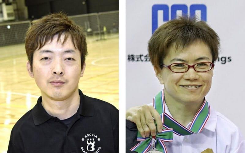 杉村英孝(左)と、藤井友里子=共同