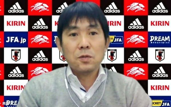 オンラインで取材に応じたサッカー日本代表の森保監督(13日)=共同