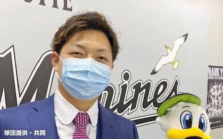 国内FA権を行使したが、残留を表明したロッテ・松永(27日、ZOZOマリンスタジアム)=球団提供・共同