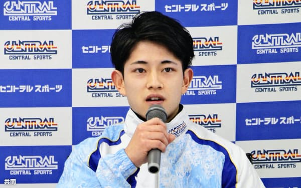 今春入社するセントラルスポーツのオンライン記者会見に臨む体操男子の谷川翔=28日